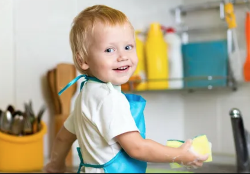 improving child self help by having child do dishes